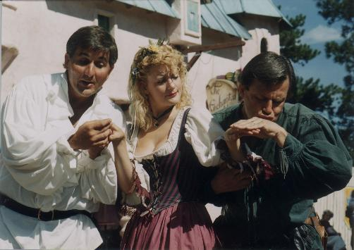 Joe Kudla, left, as Snot, and Mark Sieve, right, as Puke are characters at the Renaissance Festival. Woman in the middle is unidentified. Photo provided by CIC Productions.